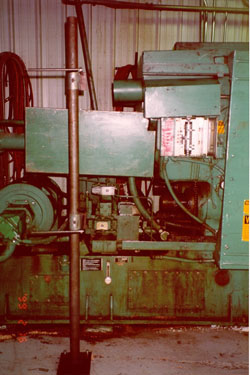 horizontal  injection molding machine with machine guards in place