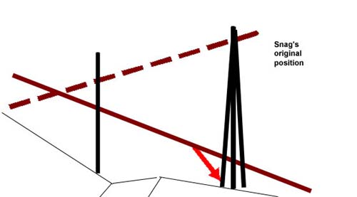 Illustration of the victim's position near the snag