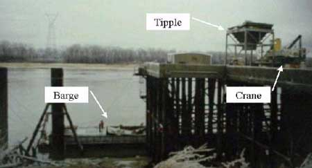 River port facility showing dock, barge, and crane immediately after incident.