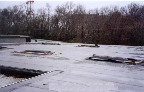 placement of five of sixe skylights on the roof.
