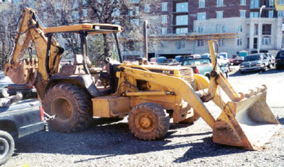 Backhoe/loader involved in the incident
