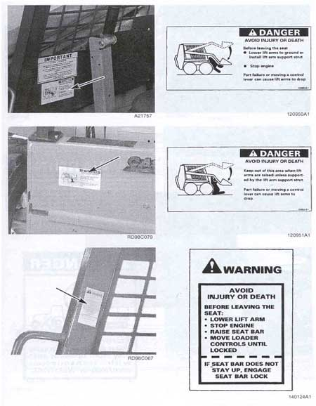 Safety warning labels on skid steer loader, including label next to hand holds regarding exiting machine.