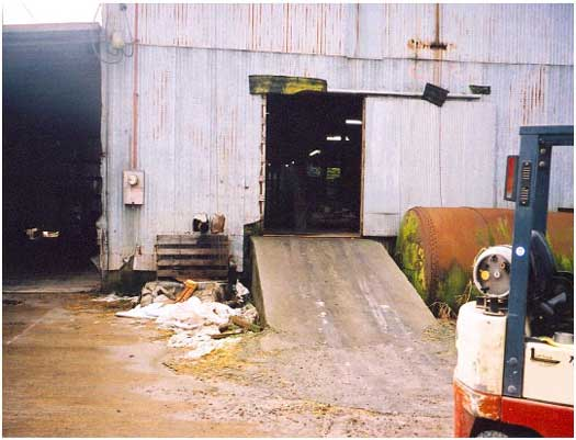 Close-up of the ramp to the warehouse.
