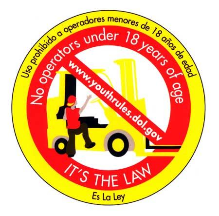Sticker (NO OPERATORS UNDER 18 YEARS OF AGE. IT'S THE LAW.)