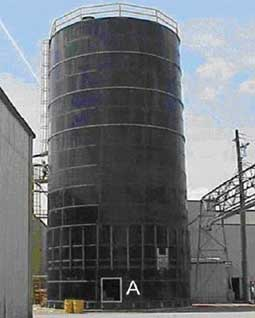Silo in which fatality occurred. Door into the silo machinery room.