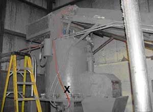 Densifier in which fatality occured. The rotor blade is located inside the Densifier.