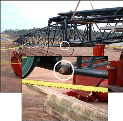 Close up of location where the victim was struck by the boom. An insert shows larger illustration of the pin.
