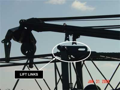Lift links that are used to secure the mast and the boom on booms 80 feet and under
