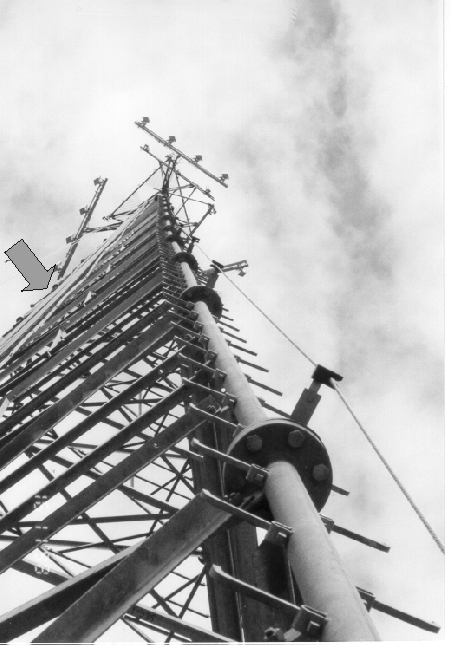 safety climb device system on tower leg shows victim's location prior to the fall