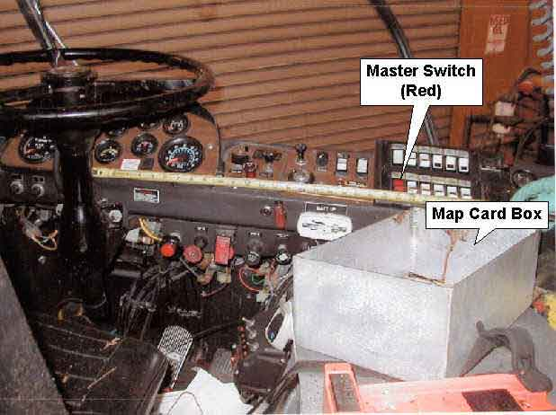 Photo 2. Cab of a rescue truck similar to one involved in incident showing locations of master switch and map card box.