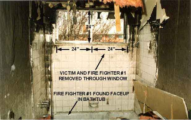 Photo 2.  Photograph showing the interior view of the burned-out bathroom window where the victim and Fire Fighter #1 attempted to exit.