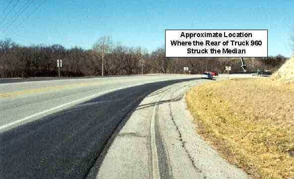 Photo 2.  Photograph of the curve on the road on which the victim was traveling.