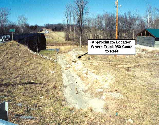 Photo 3.  Photograph of the concrete culvert and approximate location where Truck 960 came to rest.