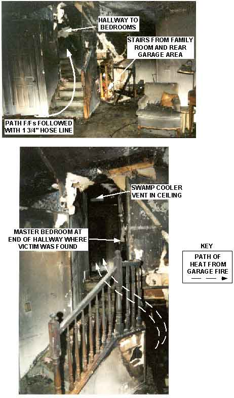 Figure: Two interior photos of the burned-out stairwell of the house.