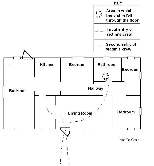 Diagram of the first floor layout of the structure.