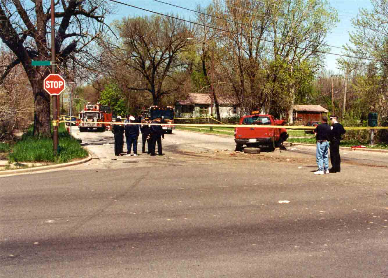 Photograph of the intersection and final resting places of the vehicles involved in this incident.