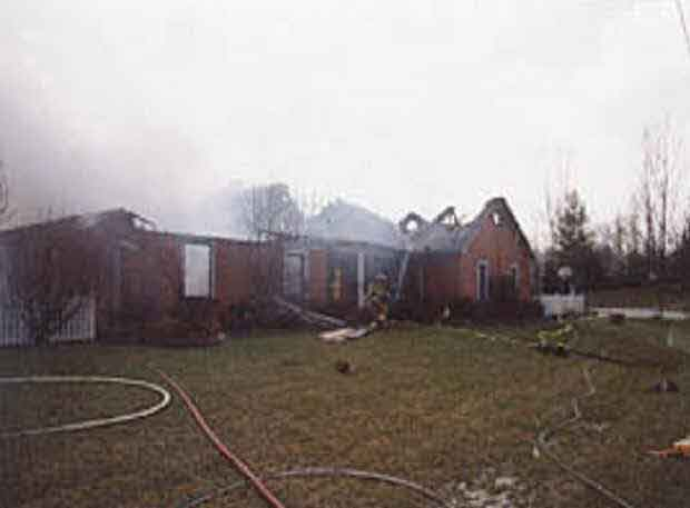 Front left corner of the structure, the a/b corner, where Incident Command (IC) was operating.