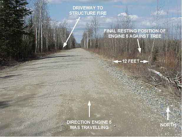 Photograph of the incident site, showing the road which the fire engine traveled.