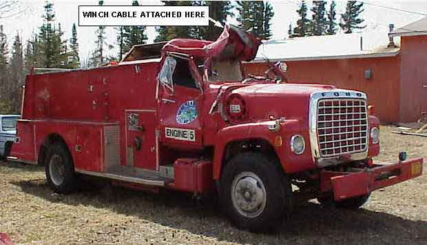 Photograph of the damaged fire engine involved in this incident.