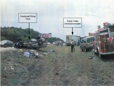 Photo 1. Incident site on interstate median