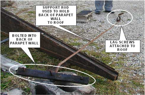 Photo 2. Support rod for parapet wall