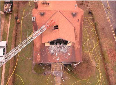 Photo 2. Aerial view of structure after incident. Photo courtesy of fire department