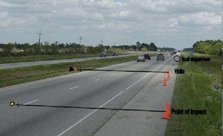 Photo 1. Interstate eastbound lanes where victim was struck