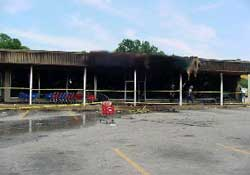 Commercial structure involved in arson fire.