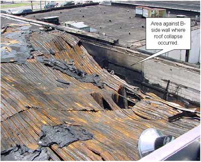 Photo 2. Roof collapse B-Side.