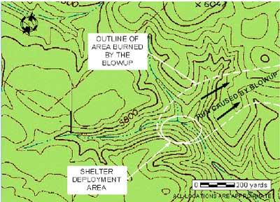 Map. Topographical map of area where blowup occurred.