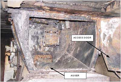 Photo 3. Auger access door in pit