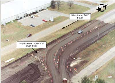Photo 1. Aerial view of detour around construction site.