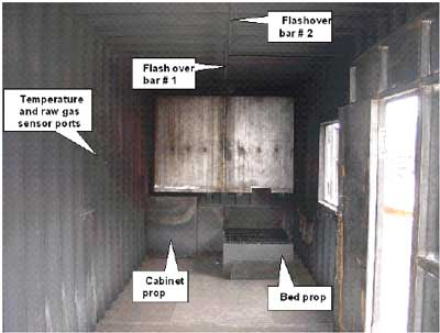 Photo 1. Inside view of front of burn chamber.
