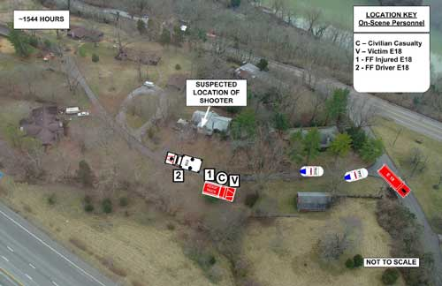 Aerial view of incident scene depicting the victim's location at time of first shooting and the arrival of EC2 and police units 314A and 211A.