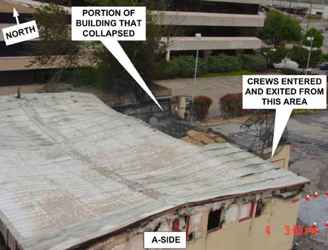 Aerial view of incident site showing portion of building that collapsed.