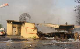 Incident scene showing  night club after fire.