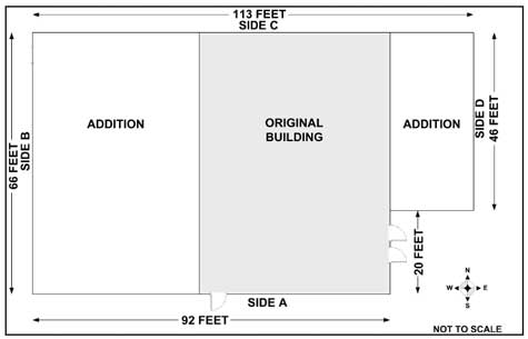 Diagram showing dimensions of night club.