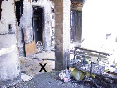 Photo 3. This photo shows (X) where the victim was found, facing toward the door.