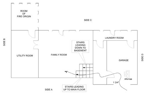 Diagram 1. Garage and basement layout; Aerial view.