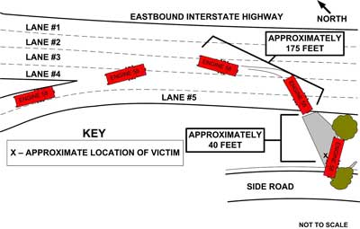 Diagram. Aerial view of incident site