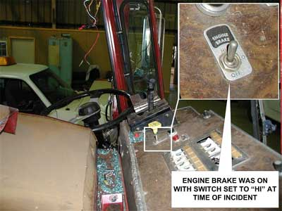 fire fighter fatality investigation report f2005 28 cdc niosh dashboard and engine brake switch