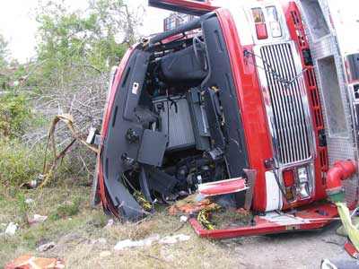 Overturned Fire Truck