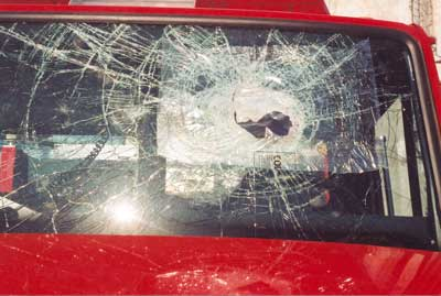 Windshield of the engine involved in incident