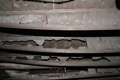 damaged webbing of the I-joists