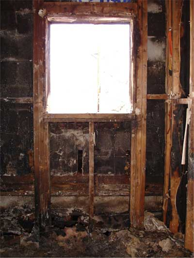 window from inside the burnt structure