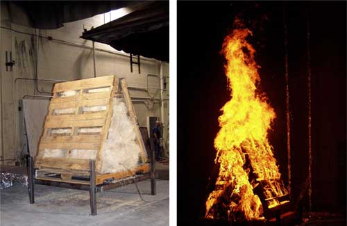 Pallets stacked and stuffed with hay, non-burning and burning