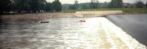 two boats near the low-head dam