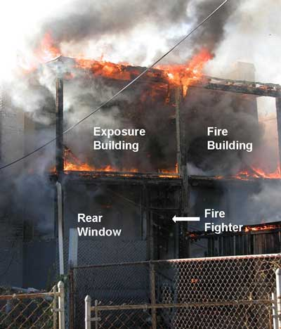 Structure noting the exposure building, fire builiding, rear window, and fire fighter