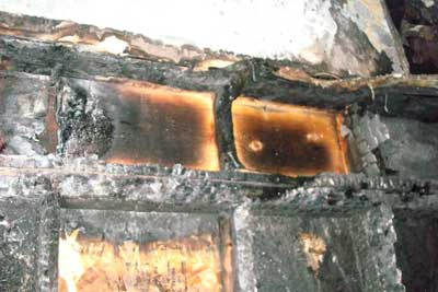 Burnt floor joist