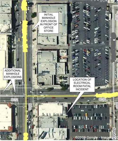 location of manhole explosions and victim location